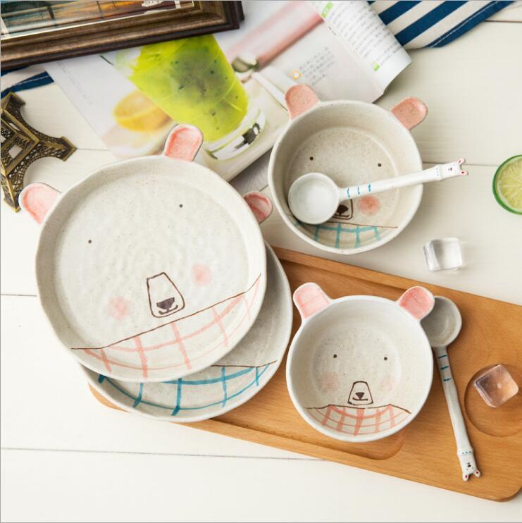 dipinto porcellana da tavola vestito delle coppie di Jingdezhen mano simpatico orso dolce cucchiaio ciotola regalo piatto di frutta set da tavola