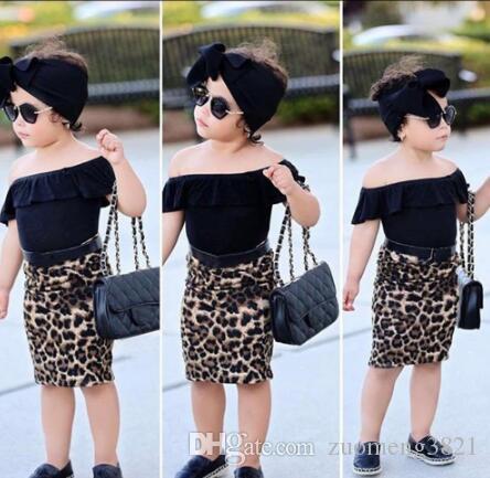 Fashion Toddler Kids Baby Girl Dress Summer Off Spalla T Shirt Gonna leopardata Casual 3PCS Set di vestiti per bambina