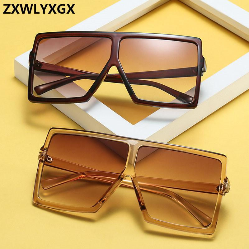 2019 Big Cadre dégradé Shades lunettes de soleil surdimensionnées Place Marque Vintage Femmes Mode Lunettes de soleil UV400