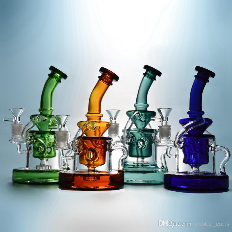 Tornado Recycler Bong Heady Glass Dab Rigs Klein Recycler Glass Water Pipes Showerhead Percolator Bong Heavy Base Glass Bong With Bowl WP308