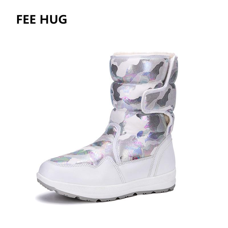 FEE HUG -30 Degree inverno quente neve Botas Mulheres camouflag mais espessas Plush Mulher Fur Shoes Flats impermeáveis Gancho Loops algodão Shoes