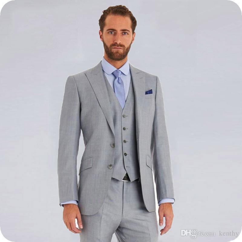 Acheter 3 Pièce Gris Hommes Costumes Marié Tuxedo De Mariage Sur Mesure Homme Blazers à Pointes Revers Groomsmen Veste Manteau Pantalon Gilet