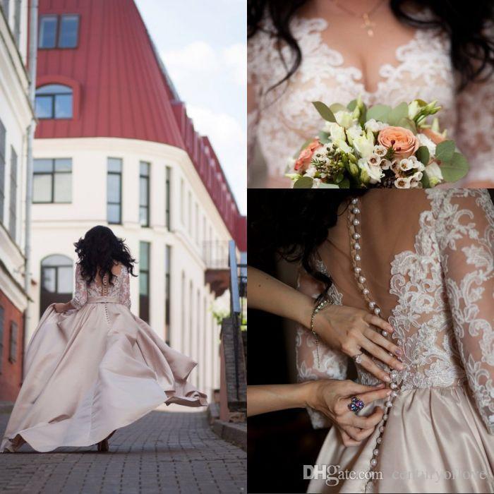 El más popular una línea de cuello en V vestidos de boda en el campo de barrido Top blanco de la boda del cordón del tren de Champagne satén Vestidos de novia con la media manga