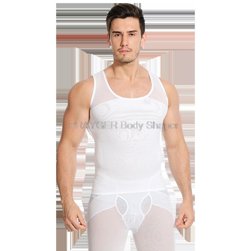 Compressione toracica shirt Addome Undershirt ginecomastia pancia dimagrante shaperwear Uomini maglia della vita cintura del corsetto che modella biancheria intima