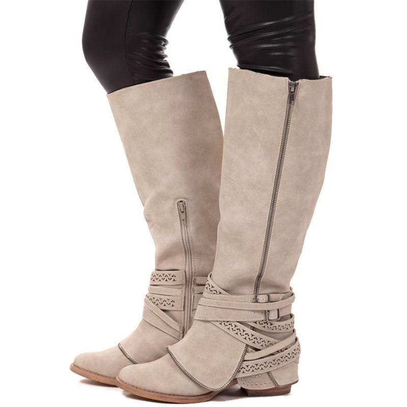 Women Knee High Riding Boots Buckle