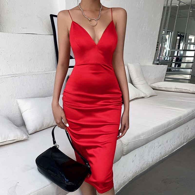مثير السباغيتي الشريط الخامس الرقبة الحرير النساء فساتين عارية الذراعين الأحمر الهيئة غير الرسمية ميدي المساء نادي الحزب اللباس الأنيق Vestidos