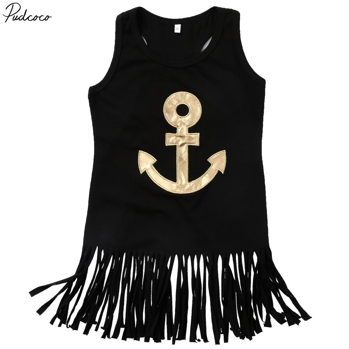 Pudcoco Casual Kid neonate Summer Gold Anchor stampati senza maniche Vest abiti + fascia 1-6years