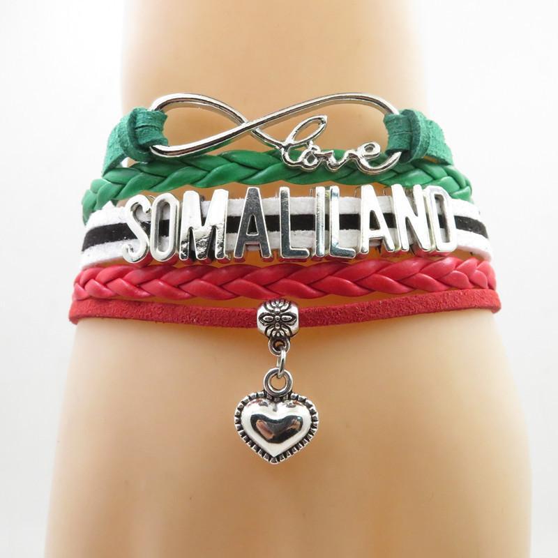 Infinity Love Somaliland Armband Somaliland Flag Armband Herz Charm Leder Wickelarmbänder Armreifen Für Frau Und Mann