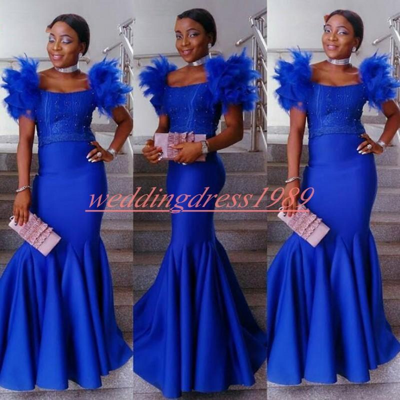 Sexy sirène Royal Blue Robes de bal plume perles Scoop Black Girl africaine Plus Size Robes Juniors formelle Soirée Bal Robe De Soiree