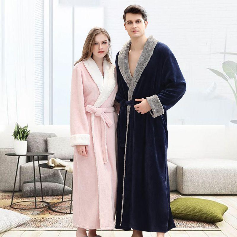 Для взрослых любителей свадебных халатов женщин Winte Home халат мужчины с длинным рукавом отель халат пижамы мягкие теплые пары халат карман
