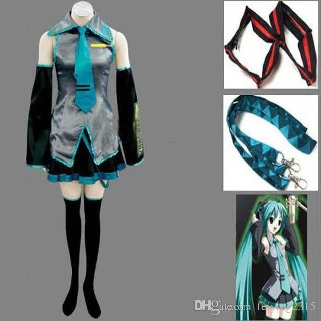 أنيمي vocaloid هاتسون ميكو تأثيري حلي هالوين المرأة بنات اللباس مجموعة كاملة موحدة والعديد من الملحقات
