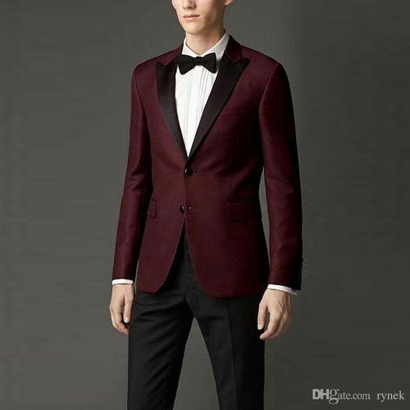 Düğün Damat Smokin Groomsmen Blazer Damat Ceket Kostüm Homme 2piece Terno Masculino için en son Tepe Yaka Tasarım Burgundy Erkekler Suits
