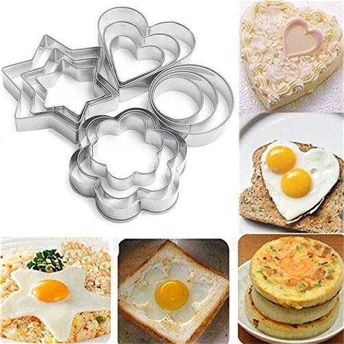 12 Pieces/set Stainless Steel Cookie Cake DIY Mold Star Heart Floral Cutter Shape Baking Mould Mold