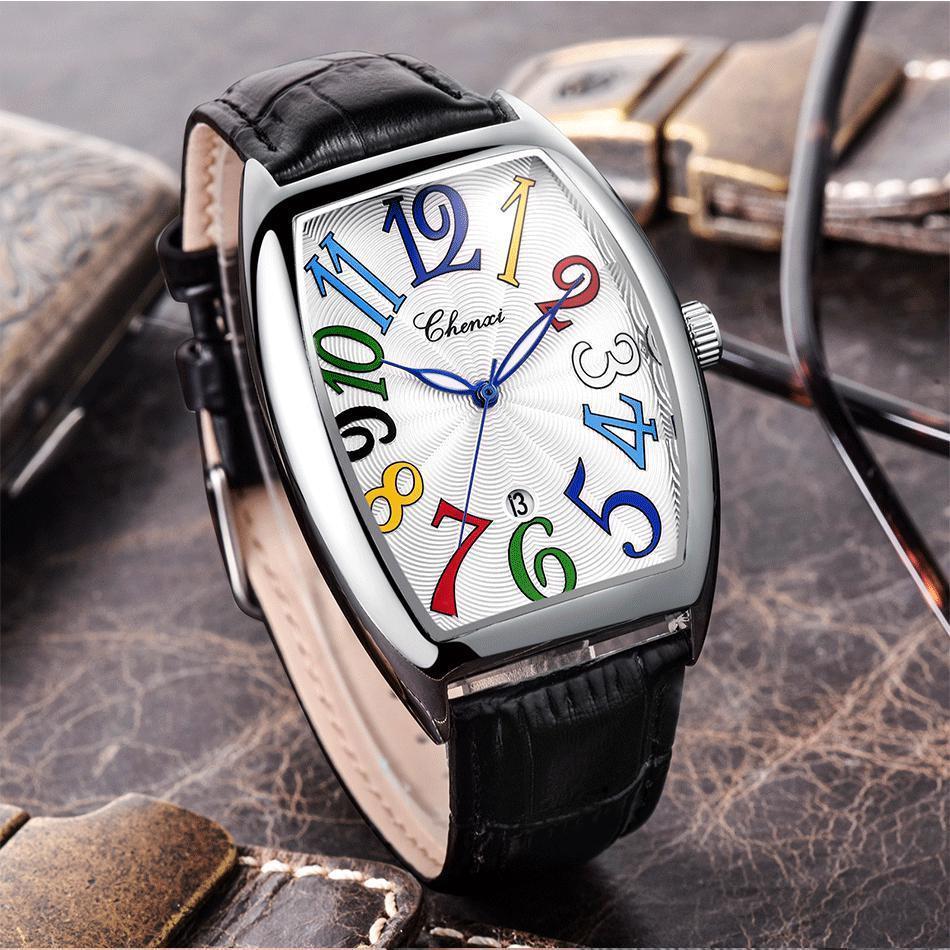 Impermeabile del cuoio di affari di modo del quarzo vigilanza del quadrato degli uomini Tonneau orologio da polso per gli uomini orologio maschile erkek kol saati