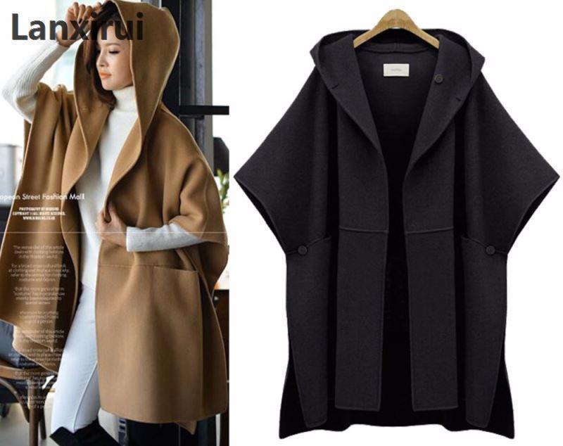 Woman Hooded Cloak Batwing Sleeve Woolen Cape Overcoat Large Size Women Loose Woolen Coats Lady Winter Fashion Poncho plus size