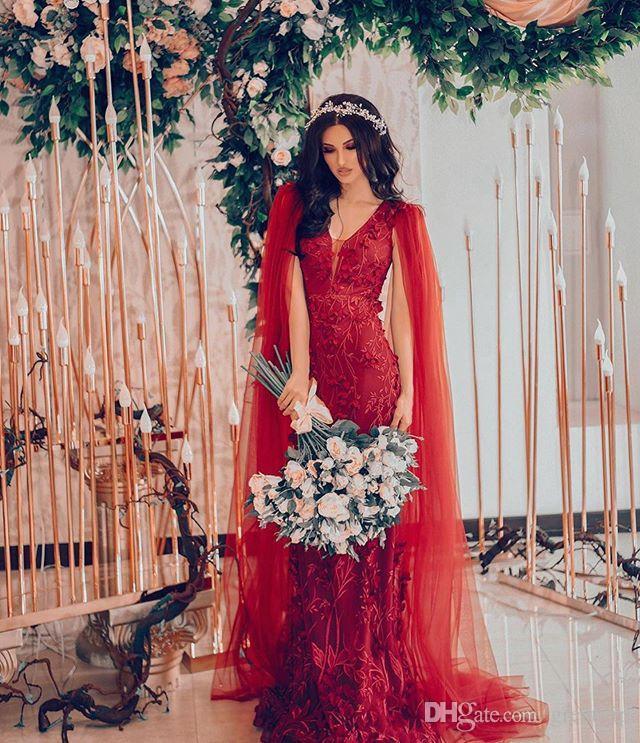 Красный Пром платья с обертками V шеи Кружева аппликация Длинные Формальное вечернее платье Складки 3D Цветочные цветок партии платья халат де вечер