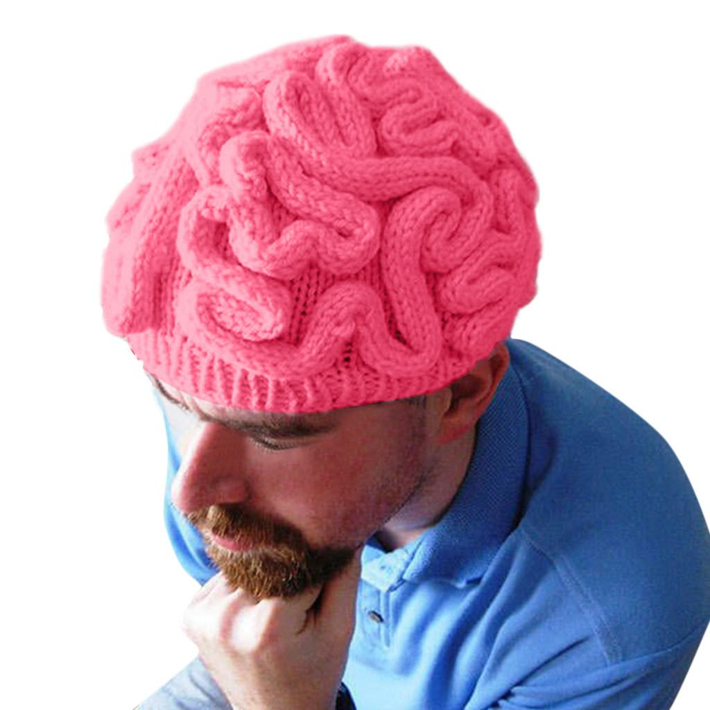 2019 Hot New Hand Knitted Personality Brain Hat Halloween Cosplay Hats Kids Adults Crochet Beanie Cool Fashion Cap #YL10
