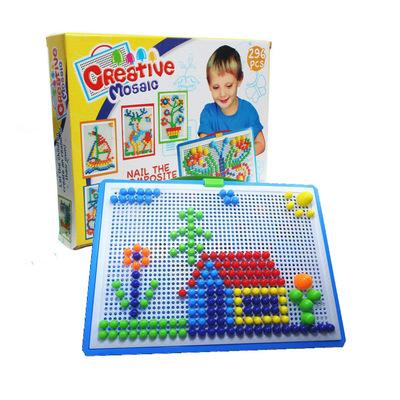 Creative 296pcs colorful box mushroom nail fight board puzzle toy Children's intelligence toy Kindergarten gift prize