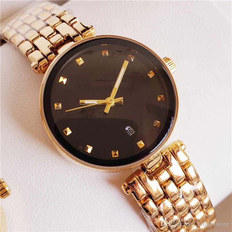 Famosa! Logotipo famoso relógio mulheres de luxo subiu de ouro relógio de pulso 29mm mulheres de aço inoxidável relógio de pulso de quartzo vestido com jóias