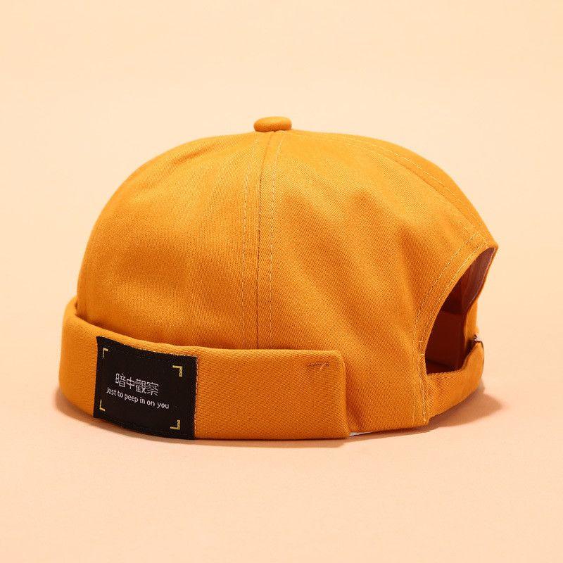 2019 Vintage Berretti Uomini via casuale Docker marinaio Biker Hat Loop Beanie brimless Cap unisex zucca cappello di colore solido