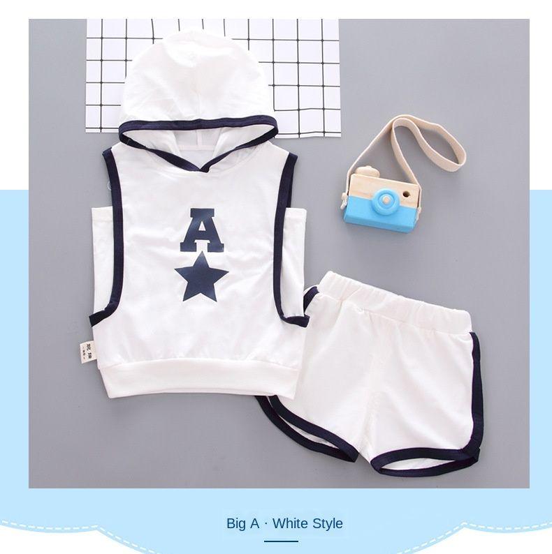 Junge Sportkleidung 2020 Sommer-Kinder-Buchstabe A Printed Weste Zweiteiliges Baby Kleidung stellt Kleinkind-Jungs mit Kapuze Kleidung