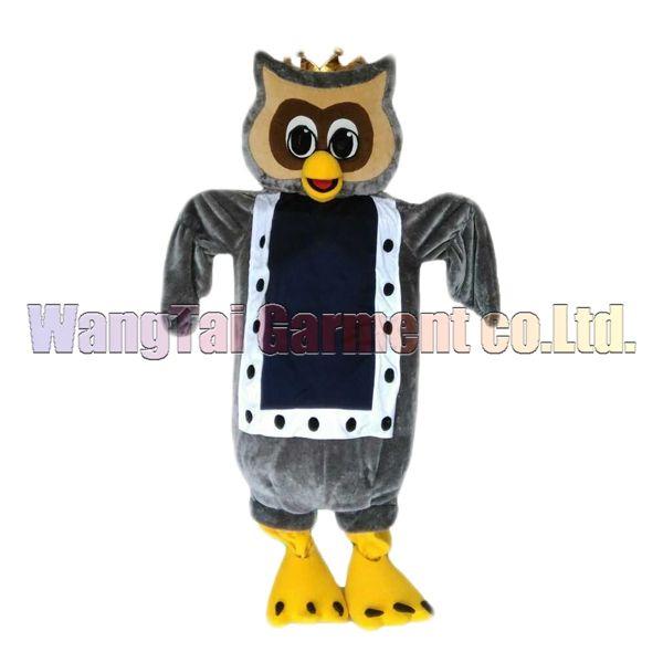 New Owl König Maskottchen-Kostüm Erstklassig deluxe Zeichentrickfigur Kostüme Grey Owl Maskottchenklage Abendkleid Partei Karneval-freies Verschiffen