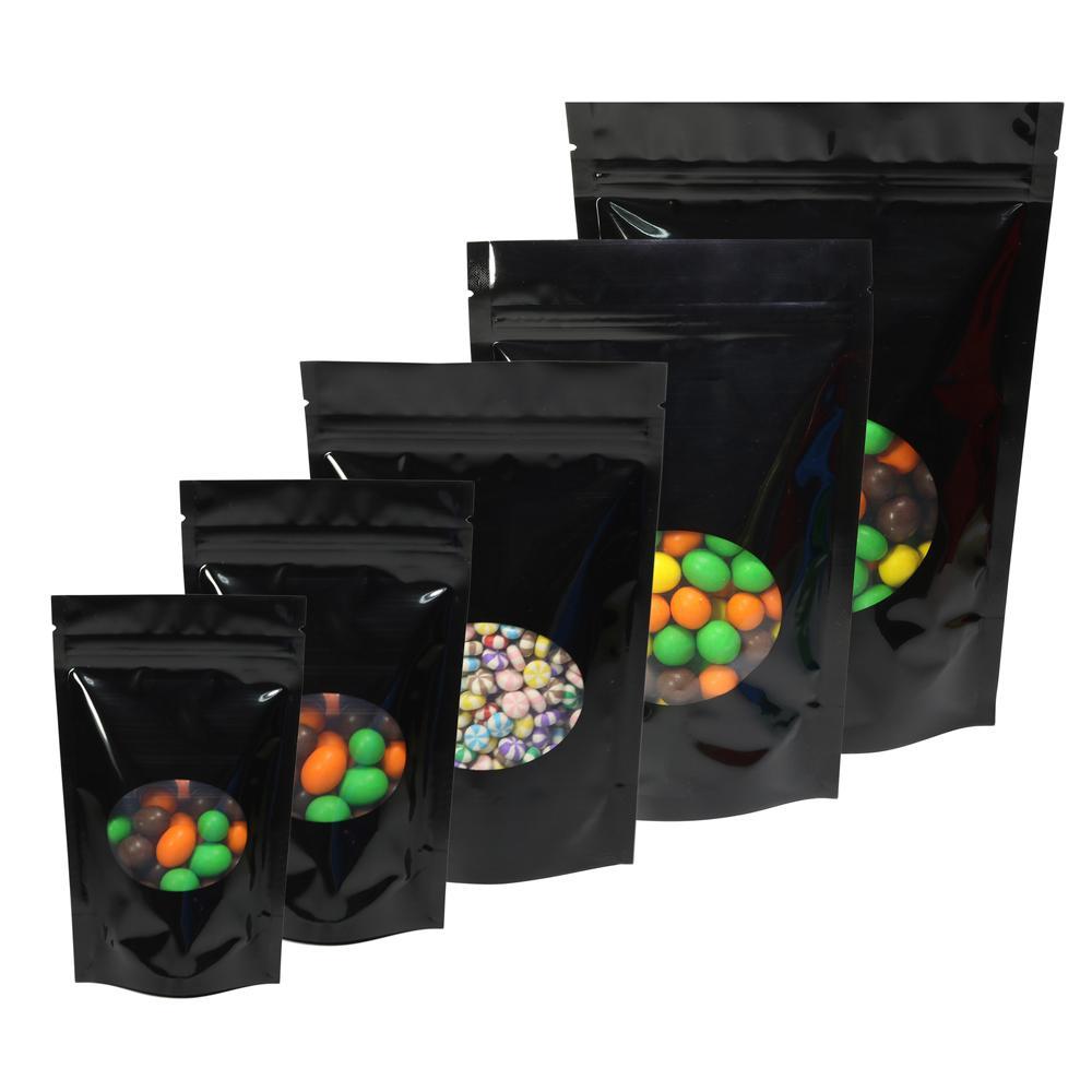 Boyutları 100 adet Parlak Renkler Yeniden Kapatılabilir Saklama Çantası Gözyaşı Çentik Alüminyum Folyo Zip Kilit Stand Up Paketi Çanta W / Oval Pencere