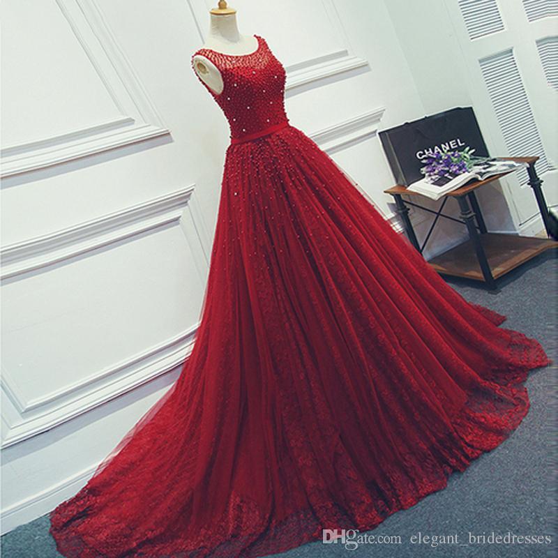 2019 vin rouge luxe tulle perlé robes de bal longue robe de soirée en dentelle appliques sans manches une ligne robe de soirée robe personnalisée de soirée