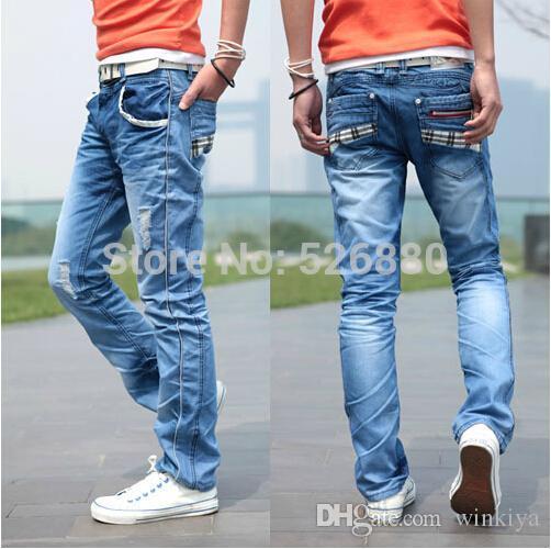 Atacado-Alta qualidade 2016 Listagem do Novo Four Seasons Moda Slim Bolso Grid Design Calça Jeans Casual Boutique Jeans Tamanho 28-36