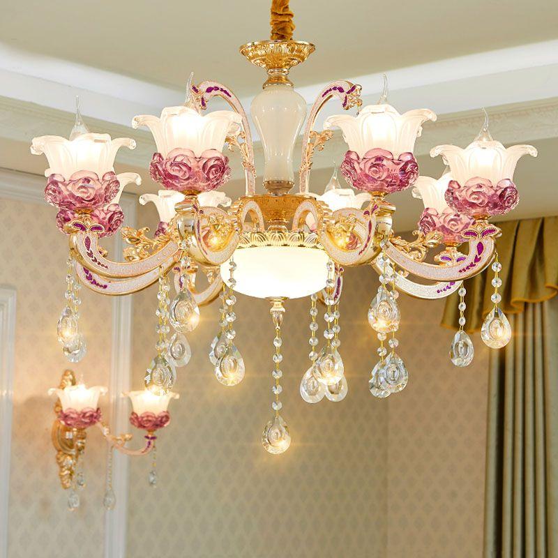 2020 Chambre Salon Romantique Plafond Lustre Chambre Lumière moderne plafond Lustre en cristal d'or Lustres Salle à manger Lampes LED