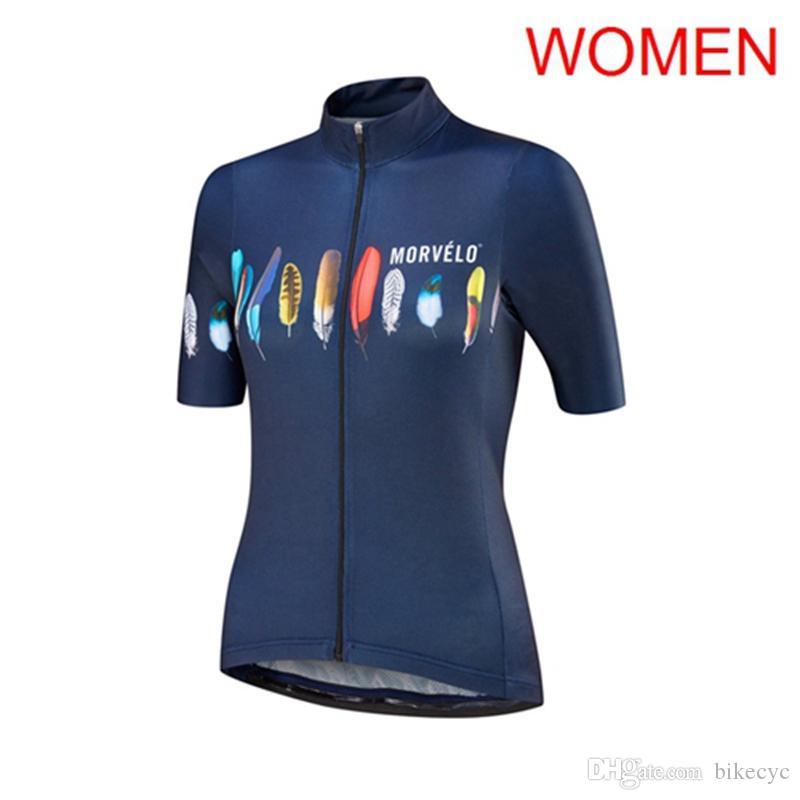 Morvelo Team Cycling Jersey Mujeres de manga corta Top Racing de verano Ropa de bicicleta Ropa Cicismo MTB Bike Jersey Uniforme deportivo Y21020610