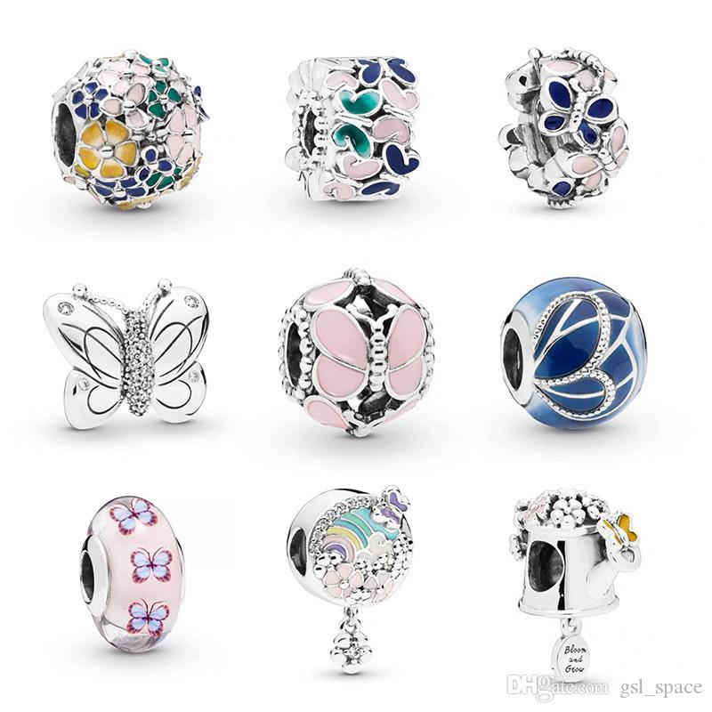 Toptan Karışık Gümüş Emaye Boncuk Kristal Gevşek Avrupa Charms Boncuk Fit Pandora Yılan Zincir Bilezik DIY Moda Takı