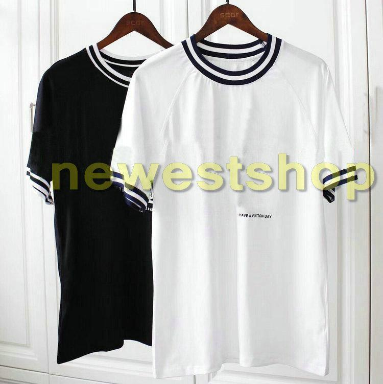 2020 más nuevos mens de lujo de verano carta invertida camiseta de diseño camisetas de la moda de los hombres de la raya camiseta manera ocasional mecerized algodón de Te