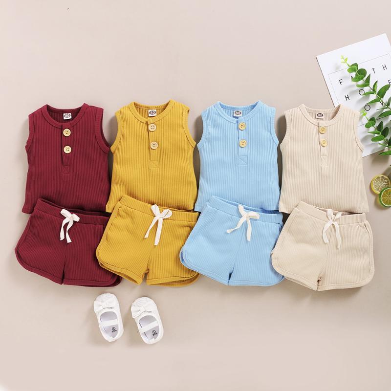 Moda Verão Criança Bebé Meninas Meninos Outfit Suit roupas de algodão Set criança Sólidos Casual Vest Tops Calças curtas Baby Boy Outfit