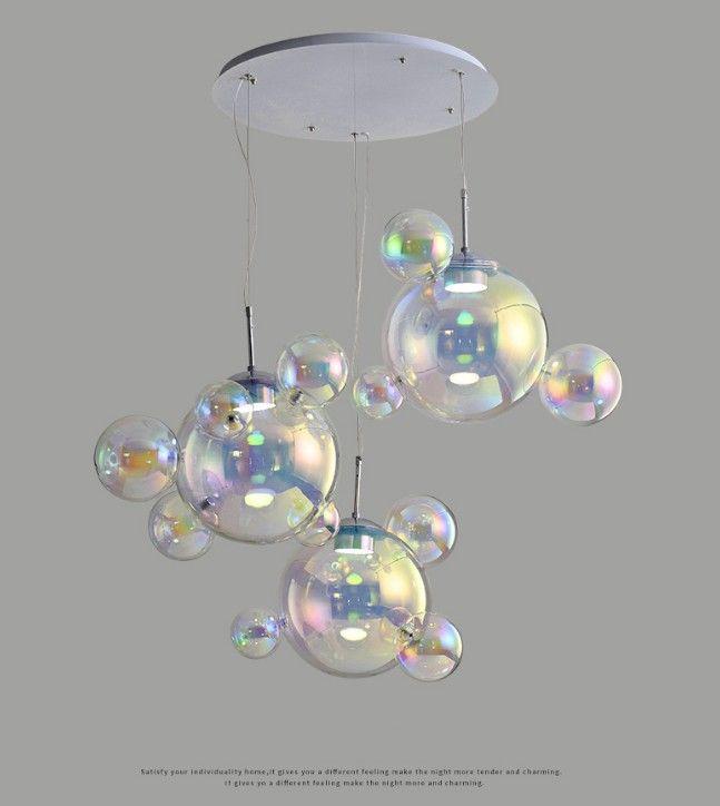 أطفال مبدعون غرفة الثريات الحديثة Led Hanging Lighting Room Glass lamp shade High-pressure Tri color Llfa
