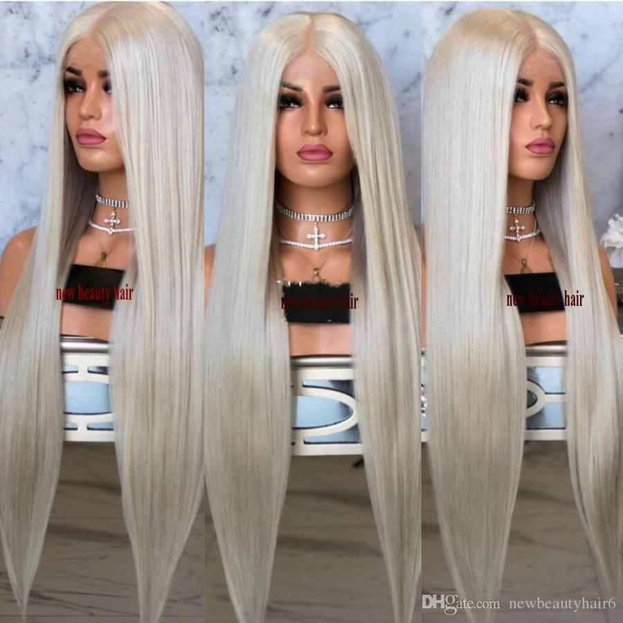 High quality simulation human hair Full Long Blonde Wigs For Women kanekalon straight Synthetic Lace Front Wig preplucked natural hairline