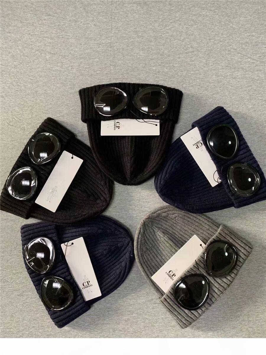 CP COMPANY due bicchieri occhiali Berretti uomini autunno inverno spesso lavorato a maglia papaline all'aperto cappelli di sport delle donne uniesex Berretti grigio nero