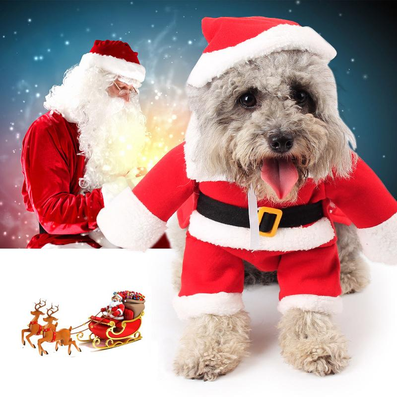 Funny Santa Claus Pet Dog Cat Costume Clothes Hat Apparel Puppy Christmas Cosplay Winter Pet Clothing Set XS-XL