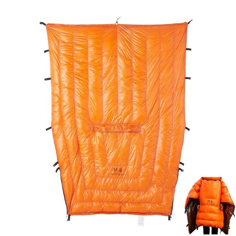Brasão Poncho Camping Outdoor Calor pequeno Quilt Blanket Água-resisitant saco de dormir Manto do Cabo com o chapéu para Homens Mulheres
