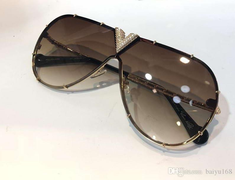 Marco de los hombres gafas de sol de piloto con piedras Negro Oro pendiente de Brown Gafas de sol Sombras nuevo con la caja