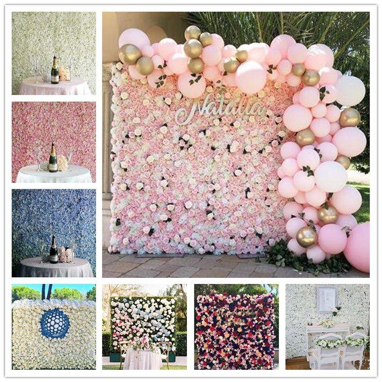 54 الألوان ارتفع التشفير زهرة جدار اصطناعية كوبية الفاوانيا الزهور زينة الزفاف الدعائم مرحلة خلفية رومانسية جدار مصنع
