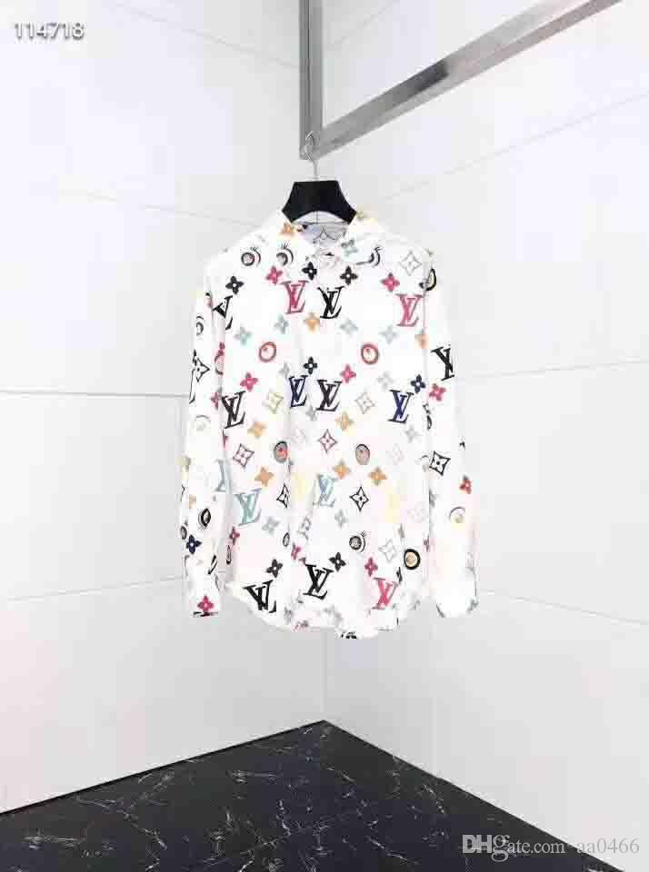 moda 2019HUY nuevos 3D camisa de seda de color de la medusa hombres de la impresión delgada de manga larga camisa de vestir casual hombres Harajuku