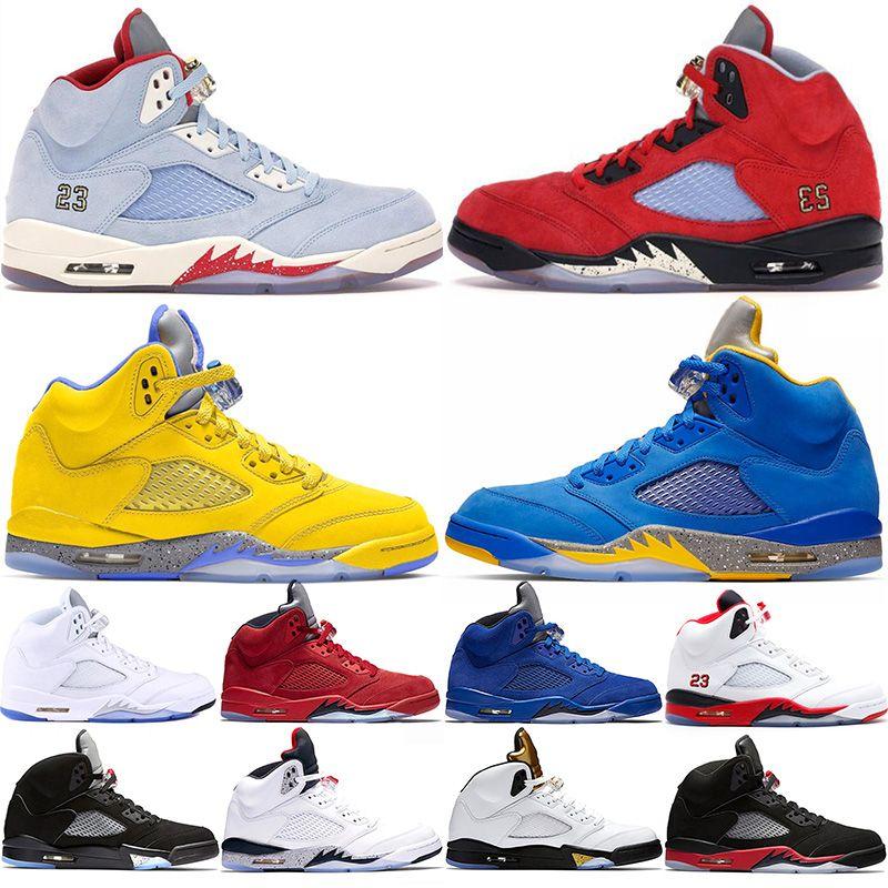 New Shoes 5 uomini di pallacanestro di Jumpman Red Desert Suede camo di ghiaccio blu Michigan metallizzato Bianco Internazionale Volo Mens Basket Ball Sneaker