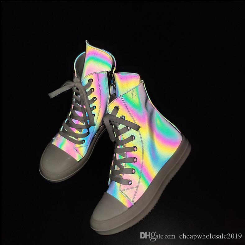 2019 새로운 카멜레온 높은 도움 캔버스 커플 신발 바닥이 평평 캐주얼 신발 사이드 지퍼 벨트 백 개 캐치 신발 여성