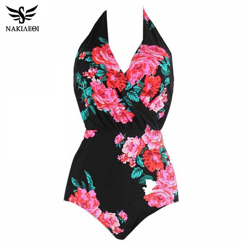 Nakiaeoi 2019 New Sexy Backless Flower Print Swimwear Women One Piece Swimsuit Female Bathing Suits Swim Monokini Swim Wear 2xl Y19072901