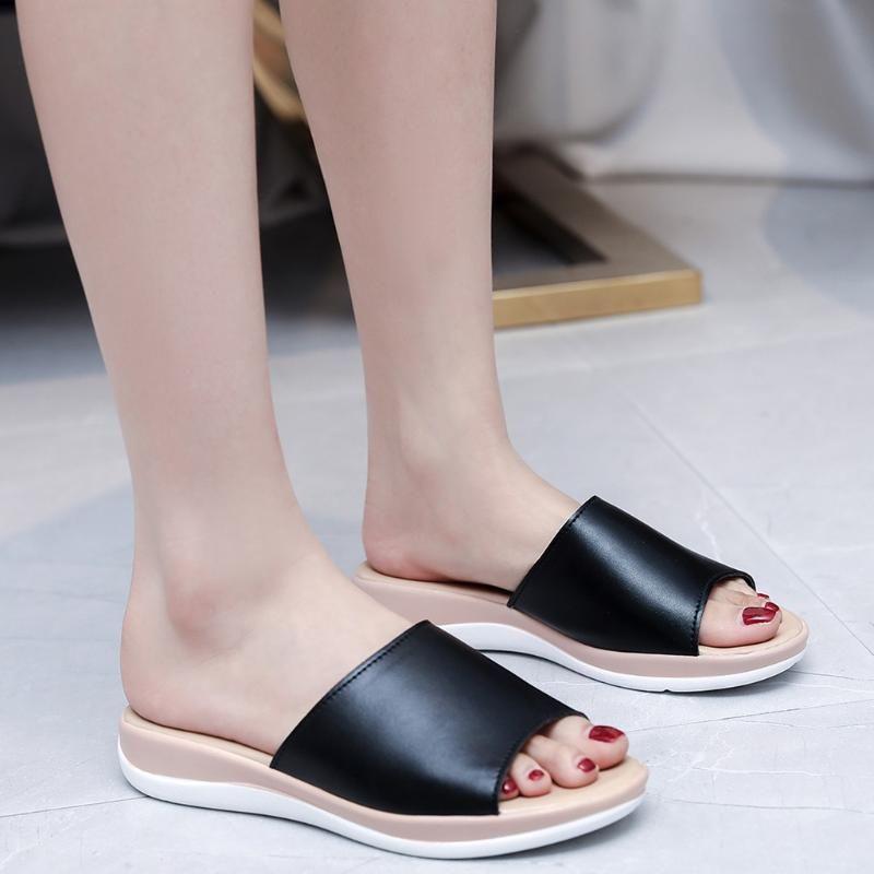 Sagace Mode Weibliche Hausschuhe Frauen-Strand-Flipflop-Sandalen Slip-on-Slides Plattform Holzsohle Slipper im Freien Frauen Freizeitschuhe