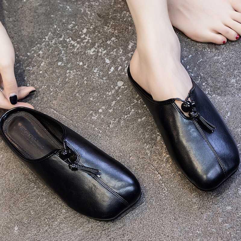 Coser sólidos Ranura mulas punta cuadrada mujer zapatillas resbalón en chanclas zapatos antideslizantes las mujeres fuera de la borla de diapositivas planas mujer 2020