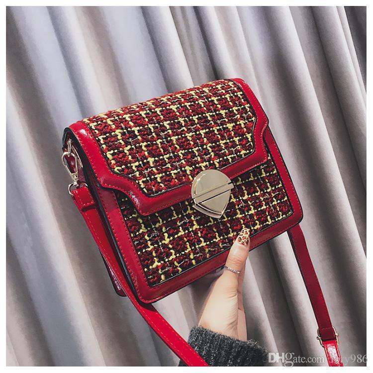 2018 Bolsas de tela escocesa de hombro de embrague de las mujeres bolsas de mensajero para las niñas bolsas de bolso cruzado bolsa Feminina Daidai wanggong / 11