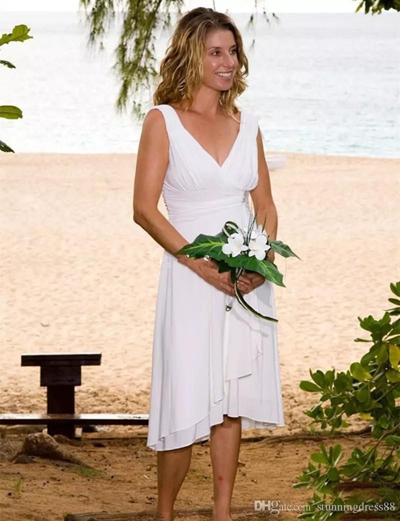 Abiti da sposa lunghezza spiaggia al ginocchio estate sotto 100 semplice economici in chiffon con scollo a V backless vestidos de novia abito da sposa abito da sposa