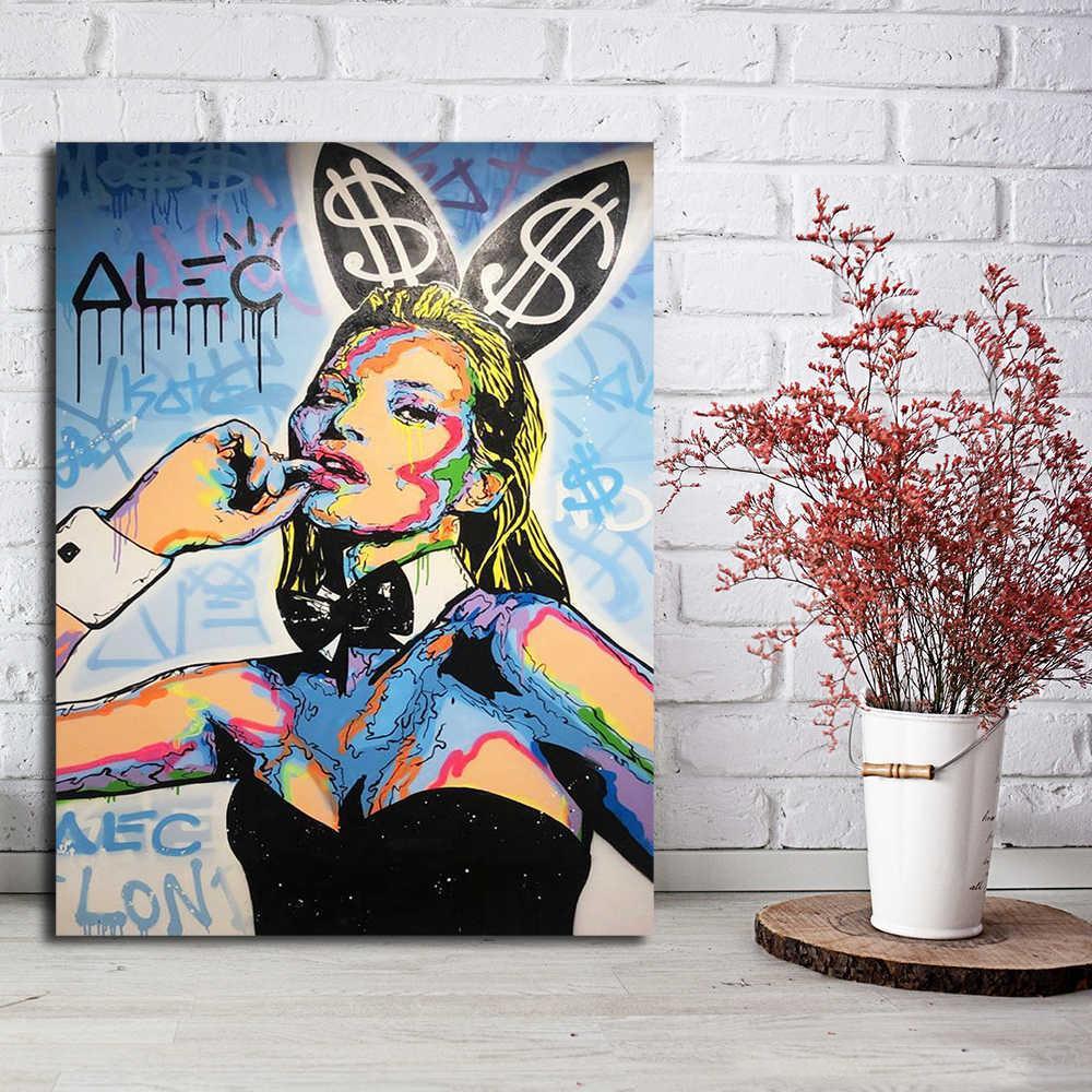Alec Monopoly Kate Moss Home Decor pintado à mão HD Pinturas Imprimir óleo sobre tela Wall Art Pictures 200517